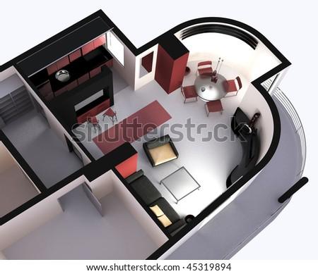 top view modern living room, 3d render - stock photo