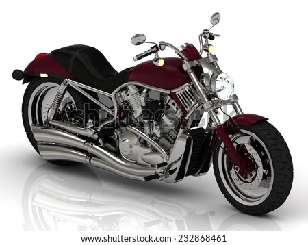Top view. Motorcycle and chrome engine and exhaust on white background.