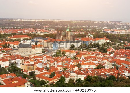 Top view of a beautiful city with an ancient castle - stock photo