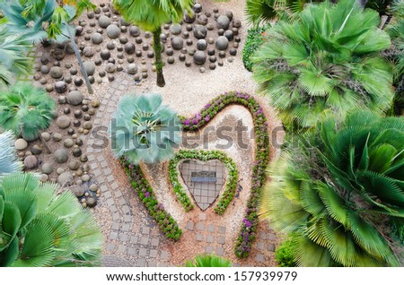 Top view of a beautiful garden in form of  heart - stock photo