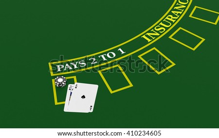 top view of a blackjack table with cards and fiches (3d render) - stock photo