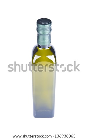 Top view of a bottle of olive oil isolated over white - stock photo
