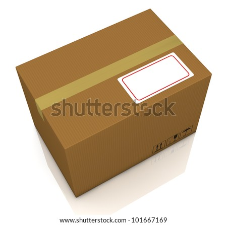 top view of a carton box with a white label for custom text (3d render)