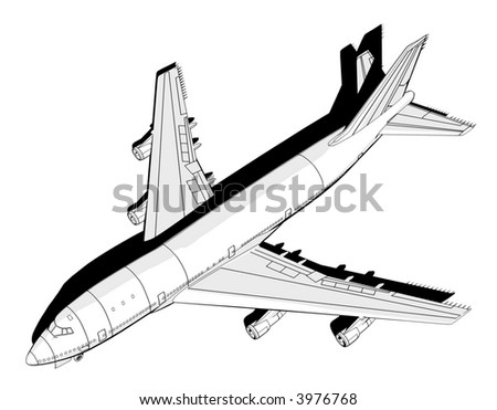 Top view of a cartoon boeing. - stock photo