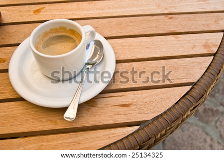Top view of a coffee cup - stock photo