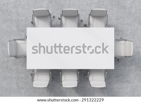 Top view of a conference room. A white rectangular table and eight chairs around. 3D interior. - stock photo