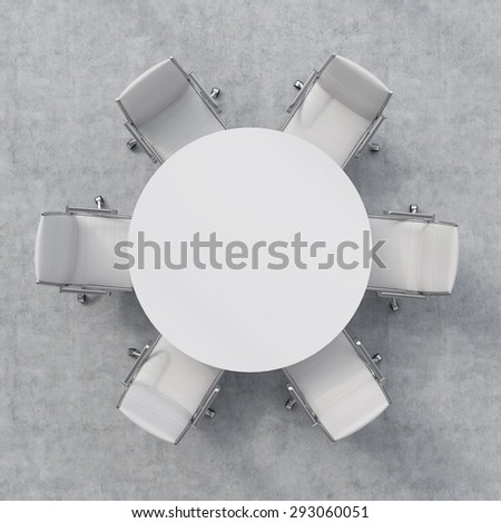 Top view of a conference room. A white round table and six chairs around. 3D rendering - stock photo