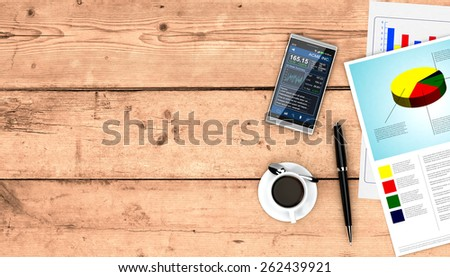 top view of a couple of paper sheets of a business plan, a pen, a cup of coffee, a smartphone with a financial app, wooden background, empty space at the left (3d render) - stock photo