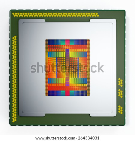 top view of a CPU on white background, the cpu is without the cover and the circuits are visible (3d render) - stock photo