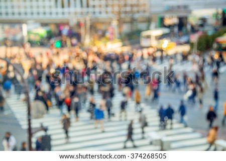 top view of a Crowded street in Japan, blurred backgrounds - stock photo