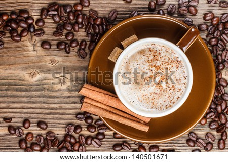 Top view of a cup of coffee - stock photo