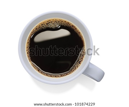 Top view of a cup of coffee, isolate on white - stock photo