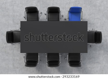 Top View of a 3d rendering conference room. A black rectangular table and eight chairs around, one of them is blue. Office interior. - stock photo
