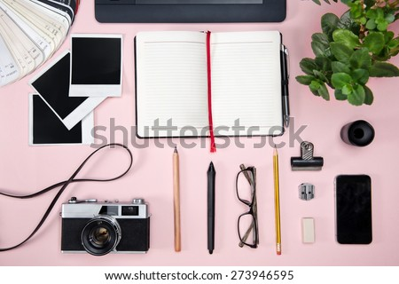 Top view of a designer working desk.  - stock photo
