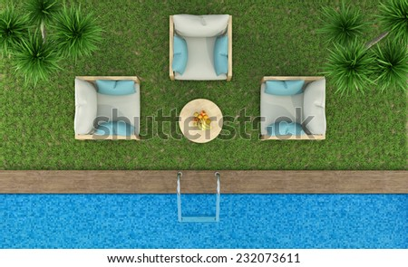 Top view of a garden with armchairs on the lawn and pool - 3D Rendering - stock photo