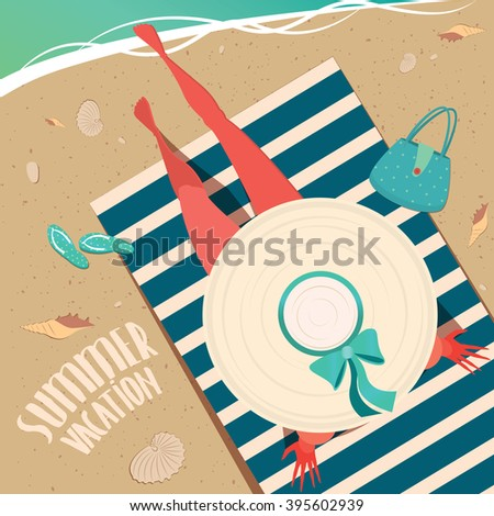 Top view of a girl in wide-brimmed hat sitting on a striped beach mat by the sea - Summer vacation concept. Raster version of illustration - stock photo