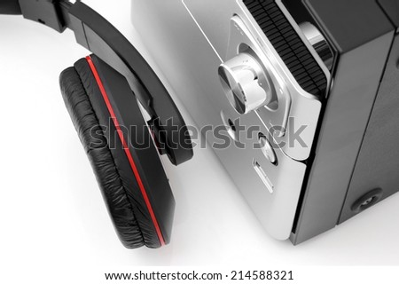 Top view of a hifi system and headphones. - stock photo