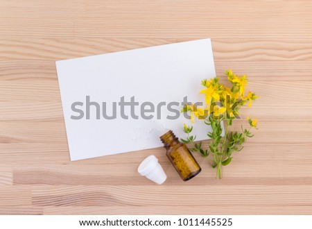 Top view of a homeopathic medicine with blooming St. John's wort on a wooden background with white copy space