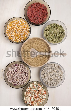 top view of a lots of seeds on a  wooden table