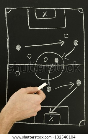 Top view of a man drawing a football game strategy with white chalk on a blackboard.
