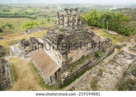 top view of a Maya temple at the archaeological site of Tonina,Chiapas,Mexico - stock photo