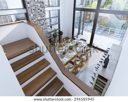 Top View Of A Modern Dining Room Design Spacious With Two Story Paronamnymi