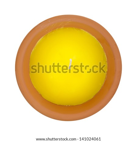 Top view of a new citronella candle on a white background.  - stock photo