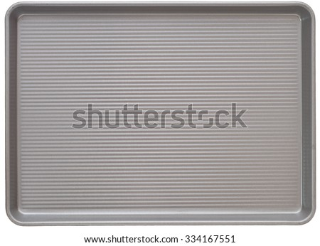 Top view of a New Gray Corrugated Metal Baking Cookie Sheet Pan Isolated on White Background.  Closeup horizontal and rectangle shaped