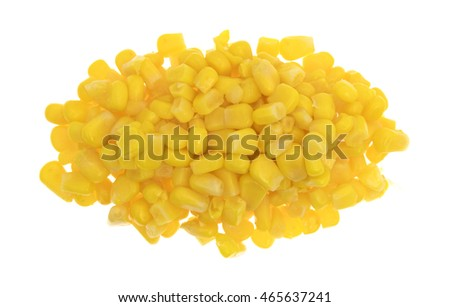 Top view of a portion of organic canned sweet corn isolated on a white background.