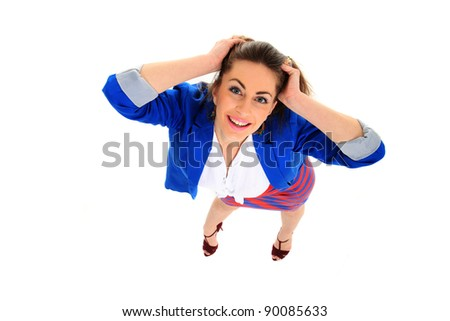 Top view of a Positive business woman smiling over white background - stock photo