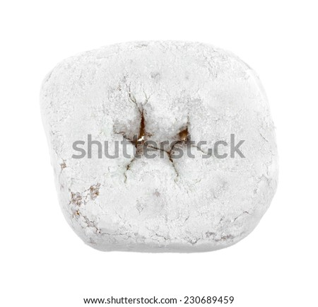 Top view of a powdered white sugar donut on a white background. - stock photo