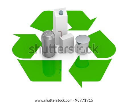 top view of a recycling symbol with several packages made with recycling materials at the center (3d render) - stock photo