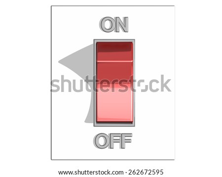 Top view of a red on and off switch in off position, on a white background, referring to concepts such as turning off a device, a state of stand-by or inactivity, and the action of making a break - stock photo