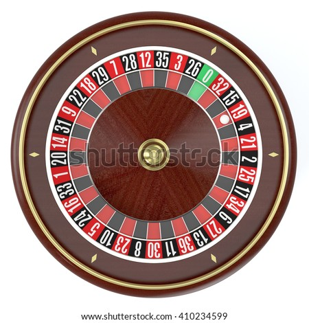 top view of a roulette wheel on white background (3d render) - stock photo