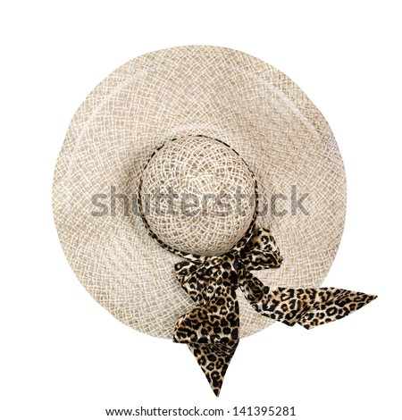 Top view of a round straw hat isolated on a white background. - stock photo