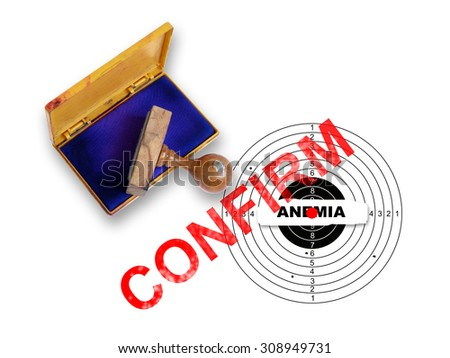Top view of a rubber stamp with a giant word   - confirm and target isolated on white - stock photo