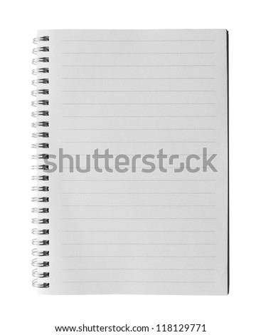 Top view of a ruled notebook or ring binder with isolated on white background.