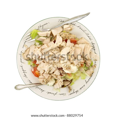 Top view of a salad with chicken chunks on a white background. - stock photo