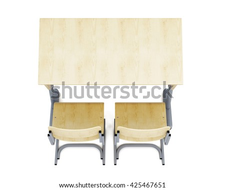 Top view of a school desk and chairs isolated on white background. 3d rendering. - stock photo