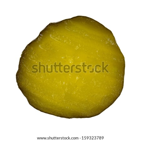 Top view of a slice of sweet bread and butter pickle on a white background. - stock photo