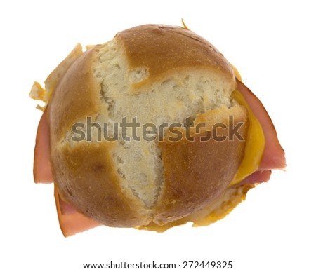 Top view of a tasty small ham and cheese sandwich on a white background. - stock photo