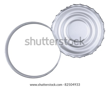 Top view of a tin can over a white background. Copy space. - stock photo