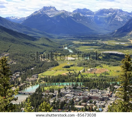 Top view of a town Banff in a Bow river valley (Banff National Park. Alberta. Canada)