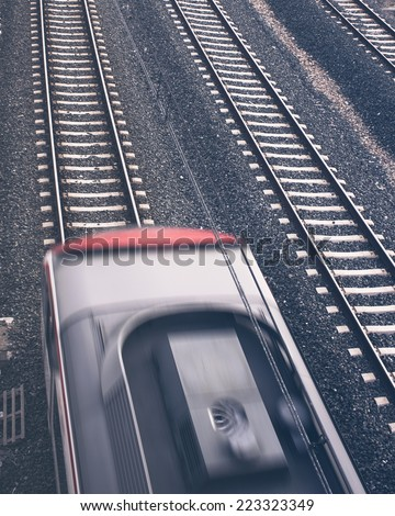 Top view of a train when it is in motion - stock photo