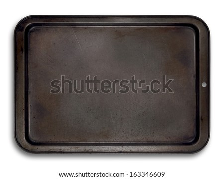 Top view of a used baking tray isolated on white for use in layouts and illustrations - stock photo