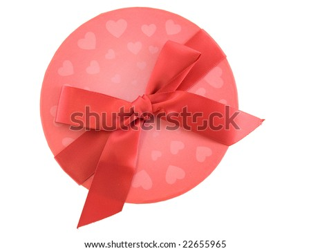 Top view of a Valentines gift box with red bow isolated on white - stock photo