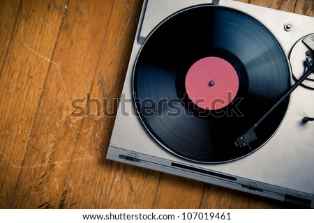 top view of a vintage turn table - stock photo