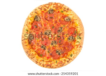 Top view of a whole pepperoni pizza over white - stock photo