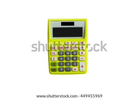 Top view of a yellow calculator isolated on white background