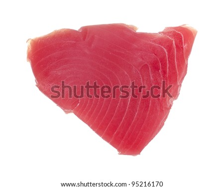 Top view of a yellowfin tuna steak isolated on a white background. - stock photo